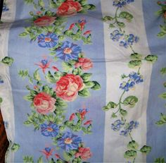 Laura Ashley Blue White Melissa Multi-Color Floral Stripe Fabric Shower Curtain #LauraAshley #Cottage