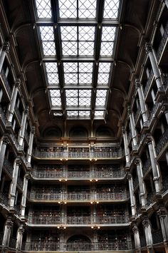 Amazing library...could wander through this for days!  The George Peabody Library, formerly the Library of the Peabody Institute of the City of Baltimore
