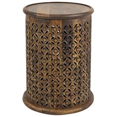 Add some twist to your furniture collection with this fine mango wood side table. This trendy accent table boasts a fancy modern style and smooth brown finish. Drum Side Table, C Table, Side Tables, Jerome Furniture, Living Room End Tables, Wood Dust, Types Of Wood, Mango, Carving