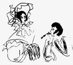 Надя Рушева Пушкин с женой. Из цикла «Пушкиниана». Перо. 1966 год.