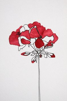 Red Geranium Flowers Botanical Illustration by AnneButeraArt, $30.00