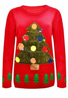 New Women's Men's Novelty X-Mas Christmas Tree With Flashing Light Jumper. UK 8-18