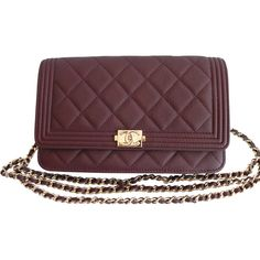 Pre-Owned Chanel Boy Wallet on a Chain Bag WOC Dark Purple Burgundy... ($2,699) ❤ liked on Polyvore featuring bags, wallets, dark red, leather cell phone wallet, burgundy leather wallet, leather snap wallet, leather chain wallet and leather credit card holder wallet