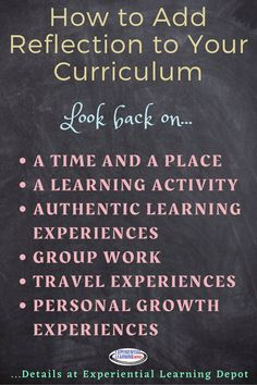 An essential piece of experiential learning is the reflection piece. Without that you miss opportunities for growth, improvement, building self-awareness, and so much more. There are a lot of easy ways to slip in reflection to your curriculum. Check that out here.