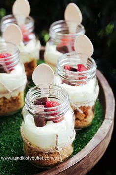 Cheesecake dessert jars from a Woodland Forest Baby Shower via Kara's Party Ideas | KarasPartyIdeas.com (19)