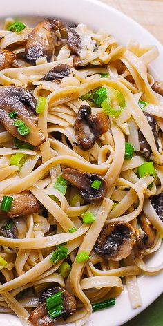 Garlic Mushroom Pasta with Butter and Parmesan cheese #meatless #recipe