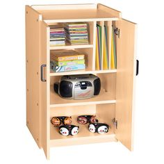 "Protect and secure audio visual equipment and CDs in this locking mobile cabinet. Fully assembled, with minor caster attachment. Measures 36""H x 22""W x 20""D. Contents not included."