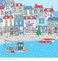 RNLI Coastal Christmas Card 2017 Illustrated by British surface pattern designer Jessica Hogarth. A snowy coastal scene is depicted i in lovely cornflower blues, lilac and red. Find her on Instagram @jessicahogarth