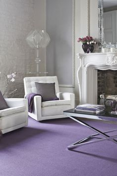 30 White Living Room Ideas: 30 Room Design Ideas, Like A Modern Environment Design Room Furniture Design, Living Room Furniture, Living Room Decor, Furniture Ideas, Decor Room, Purple Home, Purple Baby, Purple Carpet, Carpet Colors
