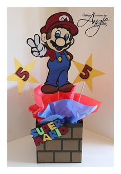 Mario bros. custom centerpieces by Angieuniquecreations on Etsy, $30.00