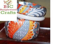 Think Art Loud - Wearable Wednesday; Decorated wood bangle by Banglewood Crafts
