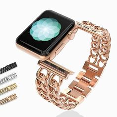 Apple Watch Sizes, Best Apple Watch, Apple Watch Bands Fashion, Apple Watch Wristbands, Apple Band, Stainless Steel Bracelet, Stainless Steel Metal, Presents For Him, Double Chain