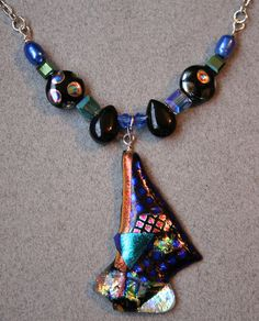 Dichroic Fused Glass Necklace with Pendant by OrneryPonyStudio