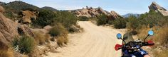 Riding through Vasquez Rocks Natural Area Park in California. This was published as part of an article about motorcycle riding in the area in the July 2008 issue of Rider magazine.