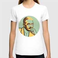 Literature men's and women's t-shirt portrait of L. Frank Baum, author of The Wizard of Oz, in green and yellow.