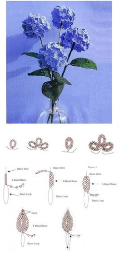 How to make flowers with beeds French Beaded Flowers, Wire Flowers, Paper Flowers, Beading Projects, Beading Tutorials, Beading Patterns, Beaded Crafts, Wire Crafts, Beaded Bouquet