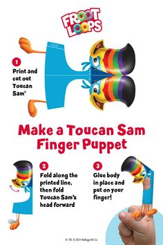 Looking for a fun kids craft idea? How about Froot Loops Toucan Sam finger puppets?! Follow your nose and print/cut out Toucan Sam to begin. Your kids will then be able to enjoy the Froot Loops World with Toucan Sam by their side. Click to enjoy more activities within the Froot Loops World. Fun Crafts For Kids, Games For Kids, Diy And Crafts, Arts And Crafts, Paper Crafts, Cell Model Project, Losing Faith In Humanity, Froot Loops, Bird Theme