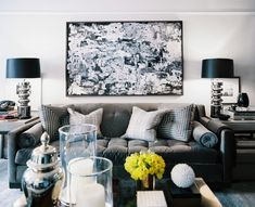 Living Room - A living space in shades of gray, white, and black