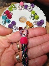 Exclusive! Kumihimo End Cap Set 8mm crystal fuzzy cuffs jewelry findings