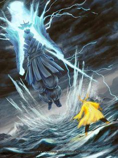 Sasuke modo susano definitivo vs Naruto modo sabio seis caminos
