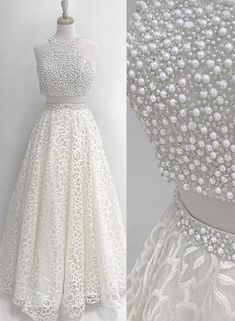 Sparkly Prom Dress, White two pieces prom dress, pearl long formal prom dress, lace evening dress These 2020 prom dresses include everything from sophisticated long prom gowns to short party dresses for prom. Pageant Dresses For Teens, Long Prom Gowns, Prom Party Dresses, Homecoming Dresses, Dress Prom, Graduation Dresses, Short Prom, Wedding Dresses, Elegant Bridesmaid Dresses