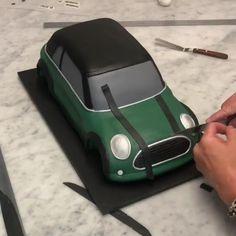 Mini Cooper Cake, Car Cake Tutorial, Austin Cars, Dad Birthday Cakes, Cake Decorating, Tutorials, Awesome, Blog, Instagram