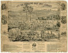 """Let Us Forgive, But Not Forget,"" lithograph of Andersonville Prison, Stockade, and Hospital, Chicago, Illinois, 1884"
