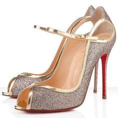 Christian Louboutin 1EN8 100mm Glitter Peep Toe Pumps Multicolor