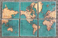Vintage Atlas Map Coasters- The World Set of 6. $35.00, via Etsy.