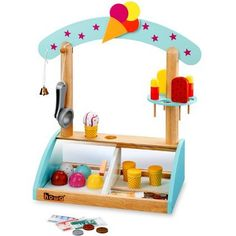 Howa Wooden Ice cream shop with accessories Ice Cream Shop Toy, Ice Shop, Wooden Toy Cars, Wood Toys, Glace Diy, Cardboard Box Crafts, Unique Toys, Best Kids Toys, Diy Toys