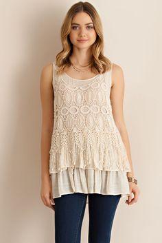 @knittedbelle #knittedbelle Crochet Ruffled Top - Natural