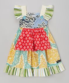 This Green & Red Paisley Flutter-Sleeve Apron Dress - Toddler & Girls by Fabulous Girl Clothing is perfect! #zulilyfinds