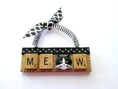 Cat Black & White Meow Scrabble Tile by ScrabbleTileOrnament