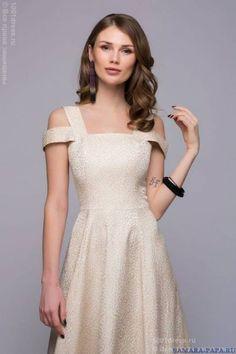DM00735BG   Платье бежевое длины макси с оригинальными бретелями