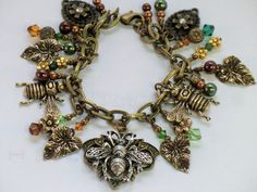 Bumblebee charm bracelet green and golden leaf by wilywolverine