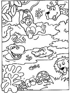 kleurplaat Safari Jungle, Jungle Party, Jungle Animals, Animal Coloring Pages, Coloring Book Pages, Adult Coloring, Preschool Jungle, Preschool Colors, Jungle Drawing