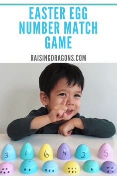 This Easter Egg Number Match is perfect for toddlers and preschoolers to teach number recognition, color recognition and great for fine motor skills! Toddler Learning Activities, Educational Activities, Fun Learning, Preschool Activities, Easter Activities For Toddlers, Steam Activities, Early Learning, Number Matching, Matching Games