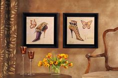 $18 Framed Printed shoes and butterflies
