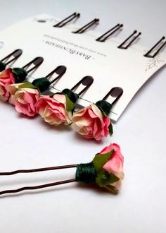 Rose Ballet Bun Flower Accessories For Children's Ballet Dance Classes and Performances Set of Six Cream and Pink Flower Bobby Pins