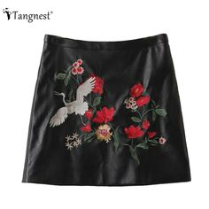 88643407c269c TANGNEST PU Leather Skirt 2017 Autumn European Sexy Bodycon Fashion Formal  Printed Animal Pattern Embroidery Mini