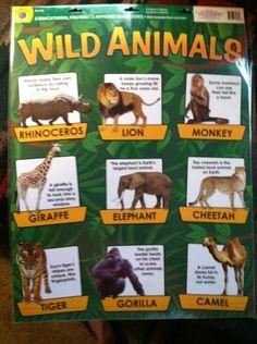 Set of 2 Classroom Charts: Farm Animals & Wild Animals (PreK -K )Teachers Etc | eBay