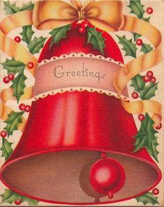Vintage Greeting Card Christmas Bells L140 Christmas Card Images, Vintage Christmas Images, Christmas Past, Retro Christmas, Christmas Greeting Cards, Christmas Pictures, Christmas Greetings, Holiday Cards, Christmas Artwork