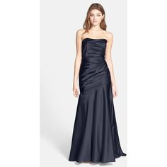 Dessy Collection Ruche Strapless Satin Gown