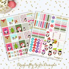 Christmas Penguins Printable Planner Stickers Mini Kit 125 Stickers pdf and 2 jpeg Erin Condren Life Planner Kikkik Filofax