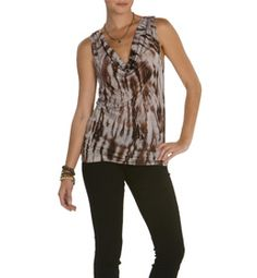 A great drape neck tank in our cool broken glass print
