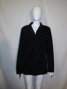 Women's Black Suede Leather Fringe Jacket by ATELIERVINTAGESHOP