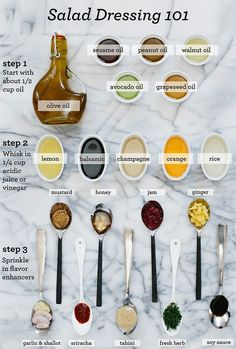 A fun salad dressing guide for those who want to make their own dressing. It is challenging to find a salad dressing that is completely type O friendly, so this can help you build your own at home for a fraction of the cost! Vinaigrette Salad Dressing, Salad Dressing Recipes, Salad Recipes, Simple Dressing Recipe, Dressing For Pasta Salad, Salad Dressing Healthy, Ceasar Dressing, Red Wine Vinaigrette, Avocado Dressing