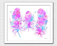 Pink purple blue feather print feather watercolor pink