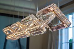 jewel Classic Lighting With a Unique Modern Spin: Windfall Crystal Chandeliers Classic Lighting, Cool Lighting, Modern Lighting, Lighting Design, Modern Chandelier, Chandelier Lighting, Crystal Chandeliers, Square Chandelier, Crystal Lights