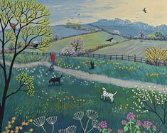 Print of an English landscape in spring from an original acrylic painting 'Spring Walk' by Jo Grundy